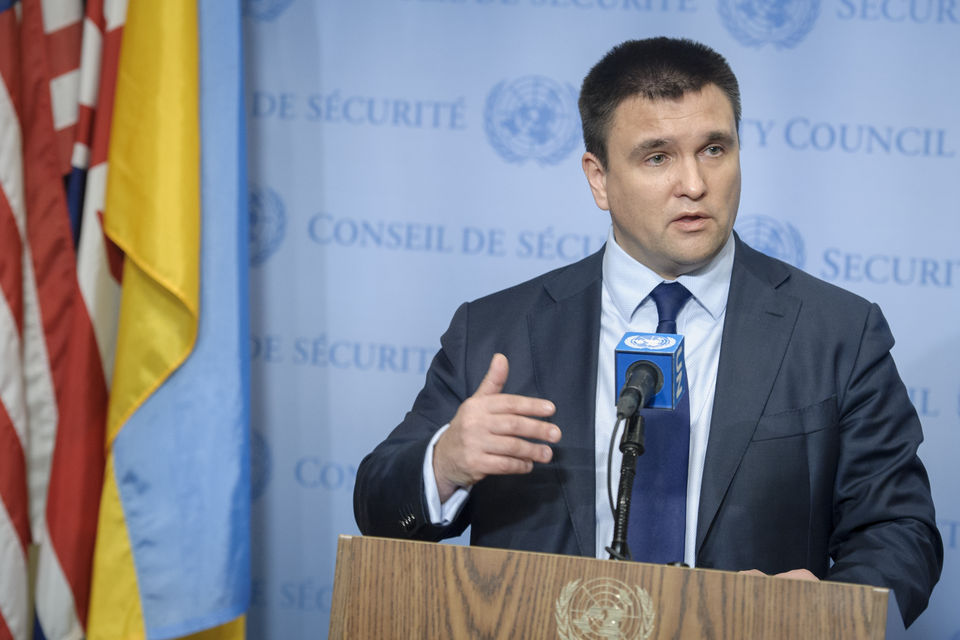 Foreign Minister of Ukraine Pavlo Klimkin to chair the United Nations Security Council open debate on conflicts in Europe